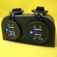 USB Dual Charger Power Surface Mount 5V Quad Outlet Double x2 Caravan 12Volt 24V