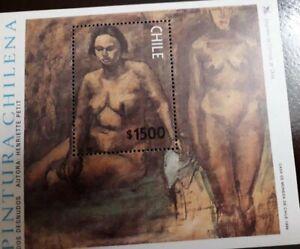 U) 1998, CHILE, TWO NUDES, HENRIETTE PETIT ARTIST , SOUVENIR SHEET, MNH