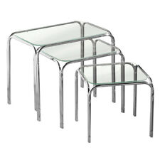 Premier Nest of 3 Tables, Clear Glass Top, Chrome Finish Legs, Modern Design