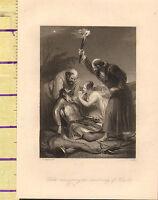C1860 Vittoriano Stampa ~ Edith Discovering The Morti Corpo Di Harold