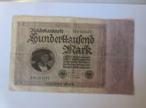 Geldschein Hunderttausend Mark Reichsbanknote  13 R-323677,  1923 ♥ (8G)