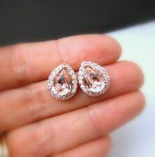 4.20Ct Pear Unique Cut Morganite Diamond Halo Stud Earrings 14K Rose Gold Finish