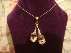 Beautiful,Finely Crafted 9CT Gold: 2.12 CT Morganite Gems & Diamonds Set Pendant