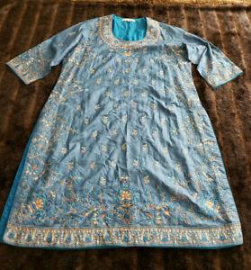 Ritu Kumar Womens Large Blue Silk Dress 3/4 Sleeve