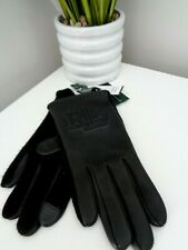 BNWT RLL Ralph Lauren Black Leather Wool Touch Gloves  M