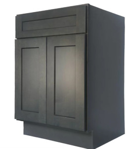 """27"""" Cinder Gray Shaker Vanity Cabinet ALL WOOD/ SOFT CLOSE, Ready To Assemble"""
