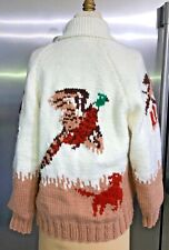 New listing Vintage Handknit Pheasant Hunter Dog Thick Wool Full Zip Cowichan Sweater Jacket