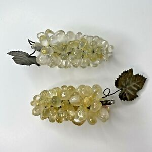 Grape Clusters Vine Clear Yellow Glass Stone Silver Tone Leaf Lot of 2