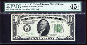1928-B $10 Federal Reserve Note Chicago #G29927536A PMG 45
