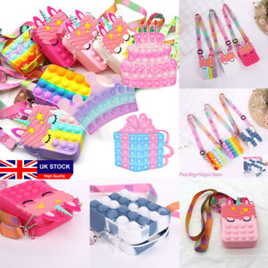 Popit Unicorn Wallet Handbag Dimple Messenger Bag Fidget Toy Antistress
