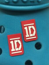 2 One Direction Logo Shoe Charms For Crocs & Jibbitz Wristbands. Free UK P&P.