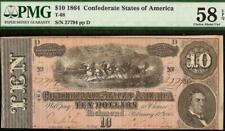 1864 $10 DOLLAR BILL CONFEDERATE STATES CURRENCY CIVIL WAR NOTE MONEY PMG 58 EPQ