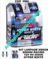 2 Lampade Effetto XENON Luce Extra Bianca 12V H4 4500K HYPER WHITE Simoni Racing