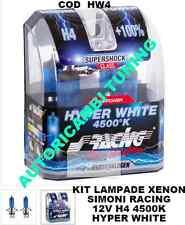 2 LAMPADE EFFETTO XENON LUCE BIANCA 12V 60/55 H4 4500K HYPER WHITE SIMONI RACING