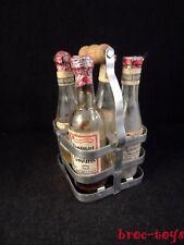 Ancien jouet 4 bouteilles miniatures casier pour poupée, épicerie années 1930