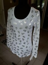 Women White And Silver Skuls  Blouse, Size M
