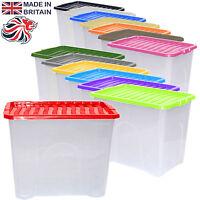 5 x 80L 80 Litre Large Plastic Storage Clear Box Stack Container + Colour Lid
