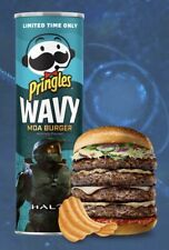 🥔 Lot of 3 Pringles Wavy MOA Burger Limited Edition Flavor HALO Can NEW SEALED