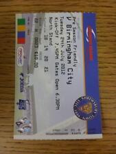 24/07/2012 Ticket: Shrewsbury v Birmingham City [Friendly] . This item is in ver