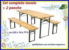 Set birreria legno tavolo + 2 panche-panchina 220x70xh77 cm richiudibile 183109
