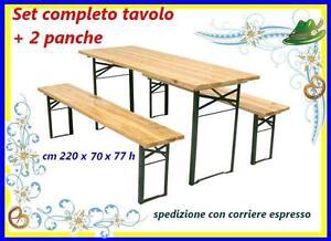 Set birreria legno tavolo + 2 panche panchina 220x70xh77 cm richiudibile 183109