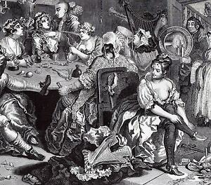Set of 8 Repro Prints of William Hogarth Rakes Progress + copy of the story