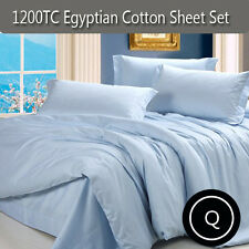 Queen 1200tc Soft Egyptian Cotton Bedding Sheets Set Blue-40cm Deep Pocket