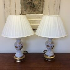 Pair of white and gold floral table lamps   Ref  A12450
