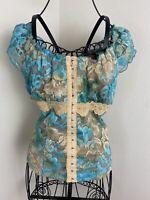 Vintage 90s Girly Tie Dye Lace Corset Blouse Size Medium