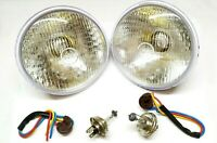 "2 LUCAS 700 HEADLIGHT 7"" INCH 12V CONVERSION LAMP H4 HALOGEN BULB 3 PIN HOLDER"