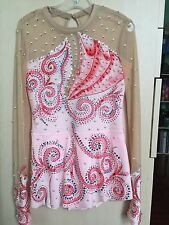 Rhythmic Gymnastics Leotard, Pink, Handmade, Crystals, Long Sleeve