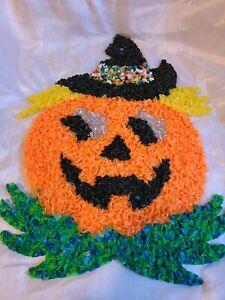 Vintage Halloween Popcorn Pumpkin Jack O Lantern Wall Hanging Decoration Melted