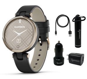 Garmin Lily Women's Smartwatch Leather Cream Gold w Wearable4U Power Pack Bundle