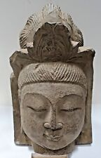 ANTIQUE BUDDHIST CARVED HARD STONE HEAD, large heavy 12.5""