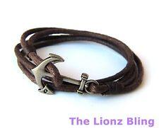 Urban Vintage Braided Brown Rope Bracelet w/ Antiqued Boat Anchor Hook Clasp