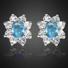 Fashion Jewelry Lady Oval Cut Aquamarine White Gold Plated Stud Earrings Earings