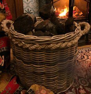 Beautiful Log Laundry Toy Rope Basket Kaboo Finish Natural Hand Made Rattan
