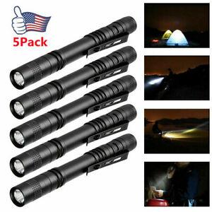 5PCS LED Flashlight Clip Mini Light Pocket Penlight Portable Pen Torch Lamp US