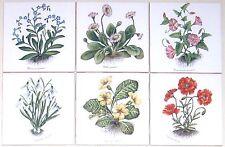 """Flower Ceramic Tile set of 6 / 4.25"""" Poppies Botanical Herb Kiln Fired Decor"""