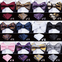 Men's Bowtie Self Bow Tie Paisley Purple Red Blue Gold White Pink Silk Set USA