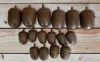 Vintage Acorns Wood Carved Tops Folk Art Crafts, Taxidermy Table Decor Cottage
