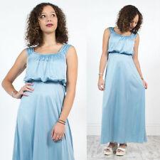 Da Donna vintage 70's Baby Blue Floaty Bohemien Hippie Stile MAXI lunghezza DRESS 8