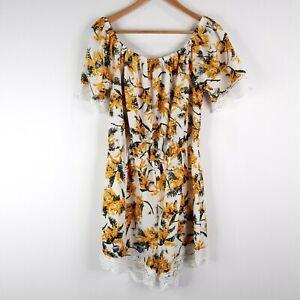 Summer Floral Playsuit Jumpsuit Size 14 White Yellow Lace Trim Elastic Waist