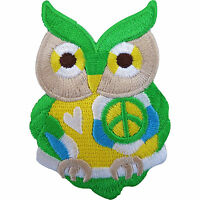 Owl Patch Iron On Badge / Sew On Embroidered Heart Peace Sign Symbol Applique