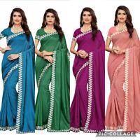 Silk Saree Ethnic Indian Designer Wedding Wear party Wear Bridal Sari Blouse SC