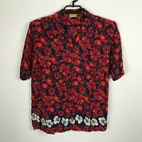 Done Down Under Hawaiian Shirt Mens Size M Red Black Floral Short Sleeve Rayon