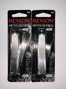 Lot Of 2 Revlon Men's Series 2 In 1 Nail Clipper 42099  NEW Free Shipping