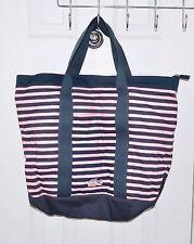 Lacoste Women Shopper Handbag Anthracite/Pink Nylon Striped Lightweight