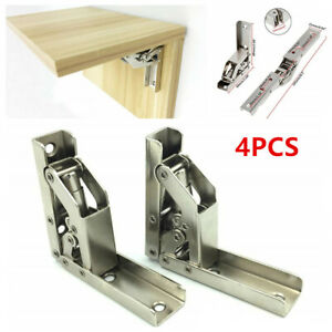 4PCS 90° Folding Door Cabinet Shelf Hinge Hidden Bracket Table Holder Furniture