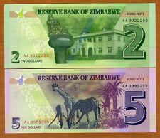 SET Zimbabwe, 2;5 dollars, 2016 (2017), P-New, Redesigned, UNC